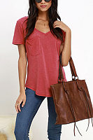 Round Neck  Asymmetric Hem Patch Pocket  Plain T-Shirts