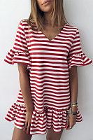 V Neck  Striped  Bell Sleeve  Short Sleeve Casual Dresses