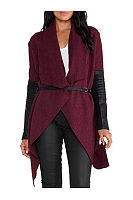 Fold Over Collar  Asymmetric Hem  Patchwork Outerwear