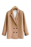 Casual style solid color double-breasted flip collar women's outerwear