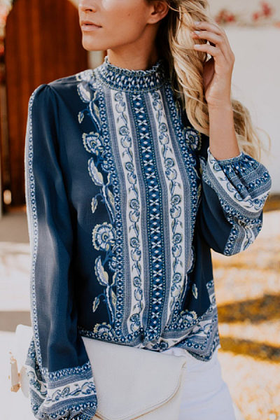 High Neck  Floral Printed  Blouses