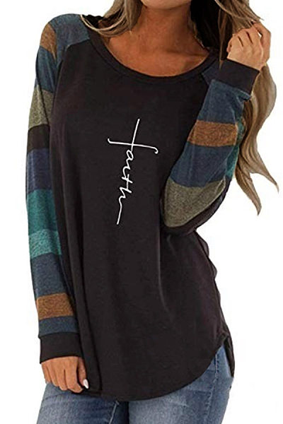 Round  Neck  Patchwork  Casual  Color Block Letters  Long Sleeve T-Shirts