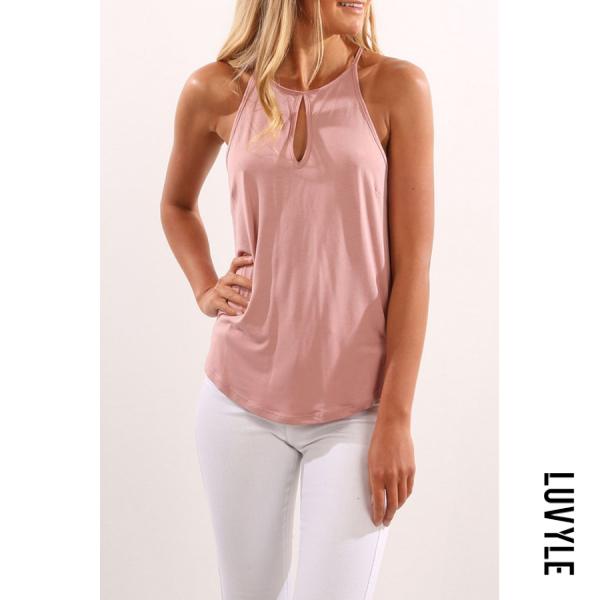 Pink Halter Asymmetric Hem Plain T-Shirts Pink Halter Asymmetric Hem Plain T-Shirts