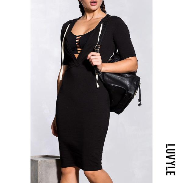 Black Deep V Neck Hooded Drawstring Plain Bodycon Dresses Black Deep V Neck Hooded Drawstring Plain Bodycon Dresses