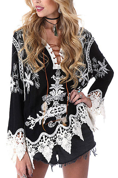 V Neck  Lace Up  Patchwork  Bell Sleeve  Blouses