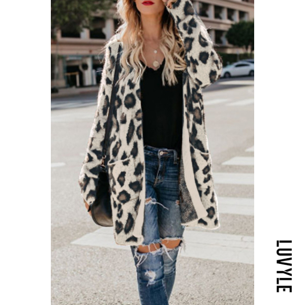 White Black Collarless Flap Pocket Leopard Printed Outerwear
