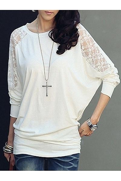 Round Neck Cotton Lace Plain Long-Sleeve-T-Shirt