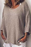 Round Neck Plain Loose-Fitting T-Shirts
