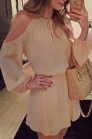 Open Shoulder Round Neck  Backless  Plain  Lantern Sleeve  Long Sleeve Casual Dresses