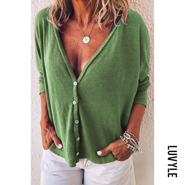 Green Casual V Neck Pure Color T-Shirts Green Casual V Neck Pure Color T-Shirts
