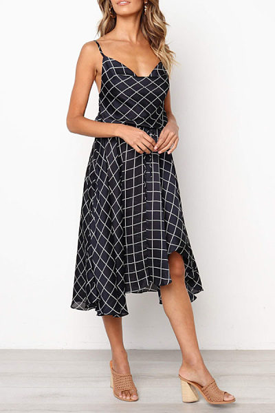 Spaghetti Strap  Asymmetric Hem  Gingham  Sleeveless Maxi Dresses
