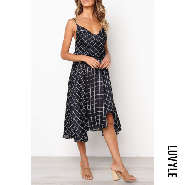 Dark Blue Spaghetti Strap Asymmetric Hem Gingham Sleeveless Maxi Dresses Dark Blue Spaghetti Strap Asymmetric Hem Gingham Sleeveless Maxi Dresses