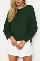 Crew Neck  Drawstring  Crochet  Plain Sweaters