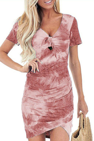 V Neck Printed Bodycon Dress