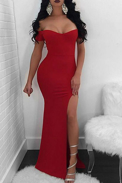 Off Shoulder  High Slit  Plain  Extra Short Sleeve Party Dresses