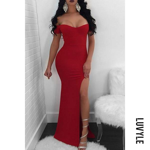 Red Off Shoulder High Slit Plain Extra Short Sleeve Party Dresses Red Off Shoulder High Slit Plain Extra Short Sleeve Party Dresses