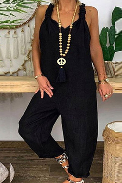 Individuality Halter Pure Colour Splicing Jumpsuits