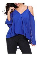 High-Low Open Shoulder Solid Long Sleeve T-Shirt