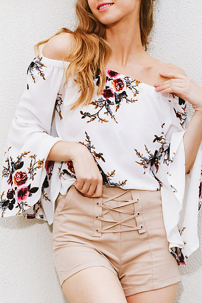 Open Shoulder Bell Sleeve Floral Shirt