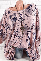 Round Neck Printed Tie Sleeve Casual Blouses