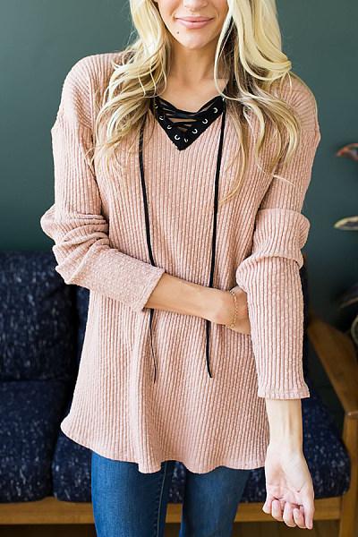 V Neck  Lace Up  Plain Sweaters