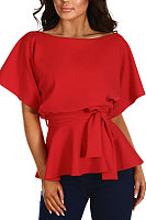 Scoop Neck  Belt  Plain  Batwing Sleeve  Blouses
