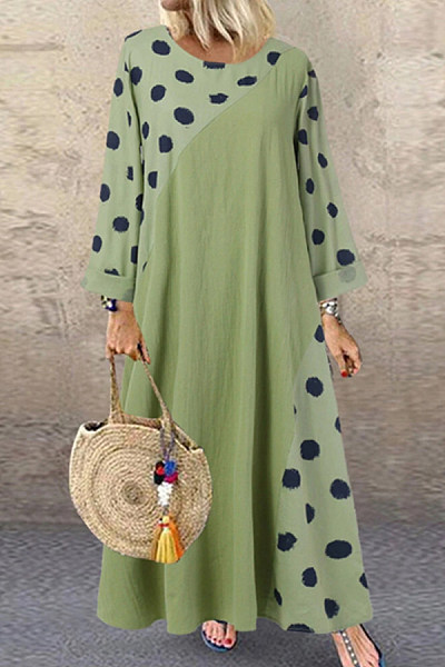 Round Neck Polka Dot Stitching Long Sleeve Maxi Dress