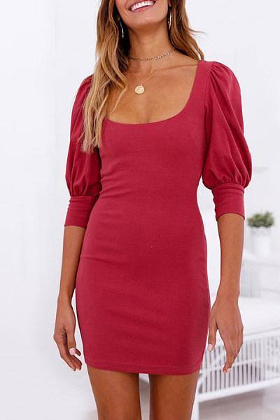 Scoop Neck  Plain  Half Sleeve Bodycon Dresses