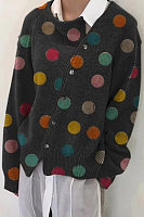 Diagonal Buttons Polka Dot Knit Outerwear