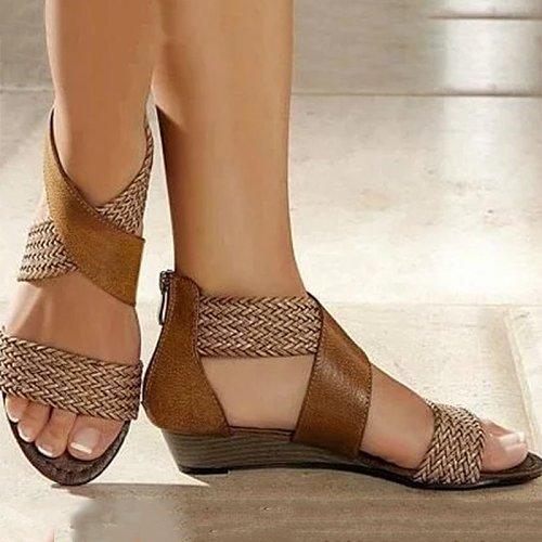 Women's Casual Colorblock Woven Sandals