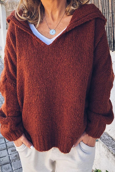 Hat Collar Loose-Fitting Casual Sweater
