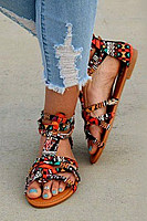 Flat Ikat  Peep Toe  Sandals