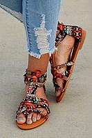 Flat Ikat  Peep Toe  Sandals