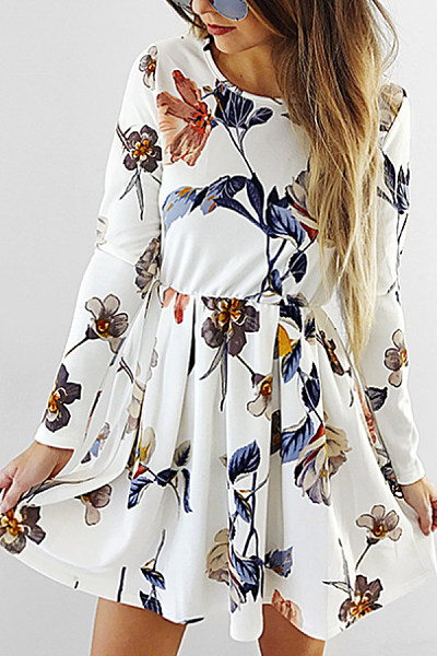 Round Neck  Floral  Long Sleeve Skater Dresses