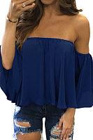 Off Shoulder  Plain  Bell Sleeve T-Shirts
