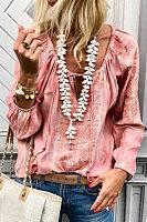 Lace Up Fashion V Neck  Long Sleeve Blouses