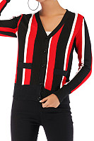 V Neck  Single Breasted  Stripes Cardigans