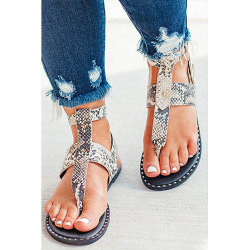 Animal Printed  Flat  Peep Toe  Casual Travel Flat Sandals