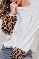 Round Neck  Leopard Printed   Sweatshirts