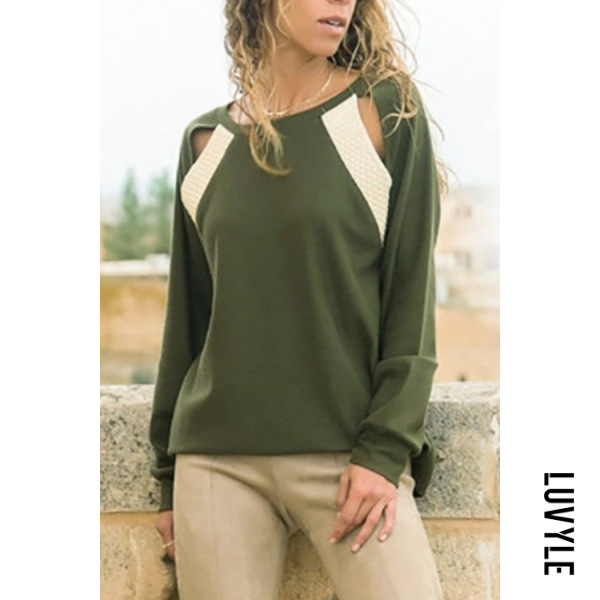 Army Green Fashion Casual Round Neck Long Sleeves Hollow Out T-Shirt Army Green Fashion Casual Round Neck Long Sleeves Hollow Out T-Shirt