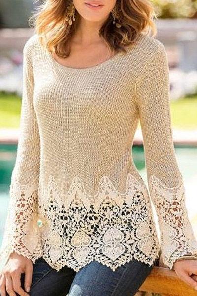 Round Neck Long Sleeve Decorative Lace T-shirt