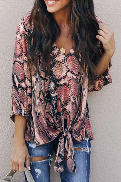 Sexy V Neck Snake Printed Half Sleeve Lace Up T-Shirts