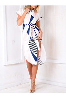 Round Neck  Printed Maxi Dresses