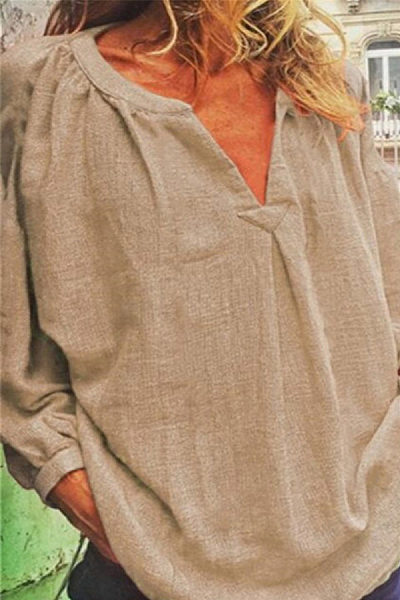 Loose V-neck linen long-sleeved shirt