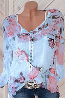 Square Neck  Decorative Button  Floral Printed  Long Sleeve Blouse