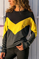 Round Neck Long Sleeve Color Block Patchwork T-Shirts