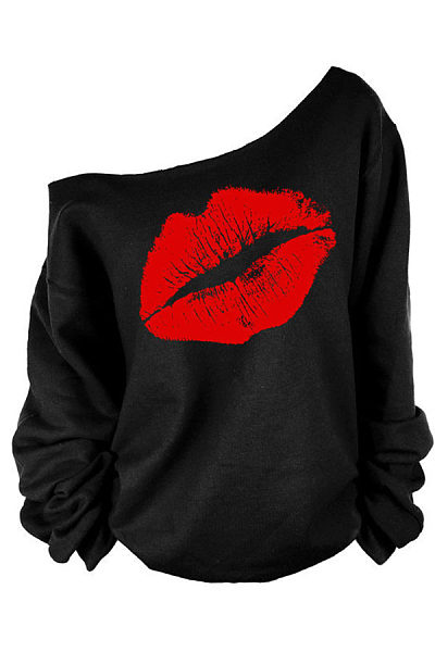 One Shoulder Lips Printed Sweatshirts