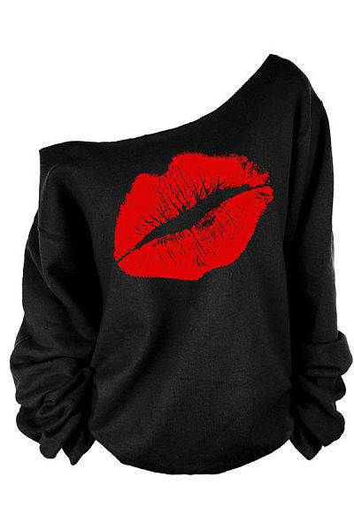 One Shoulder Lips Printed Sweatshirts