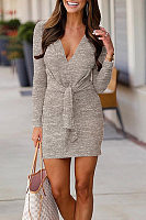 V Neck  Plain  Long Sleeve Bodycon Dresses