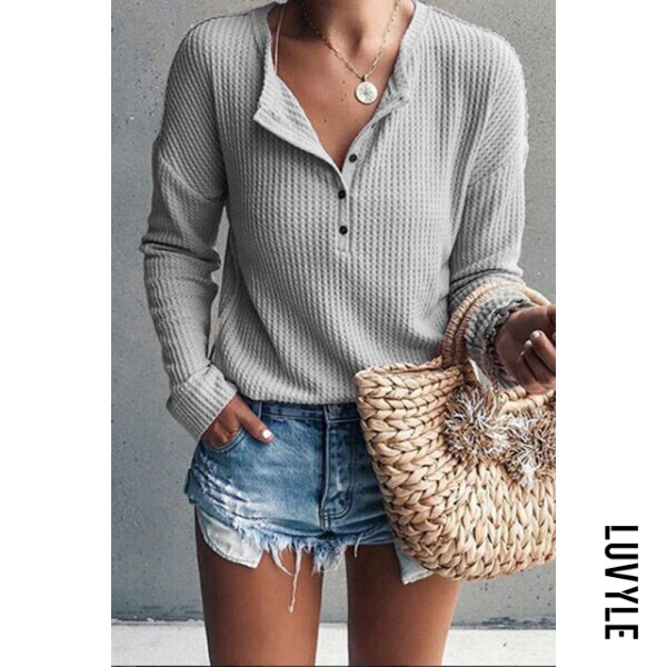 Gray Jewel Neck Long Sleeve Pure Color T-Shirt Gray Jewel Neck Long Sleeve Pure Color T-Shirt